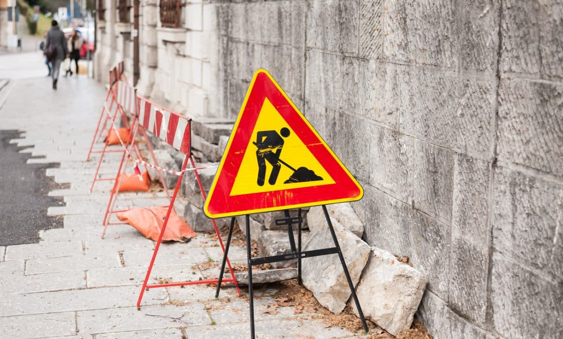 Road works sign for construction works in progress